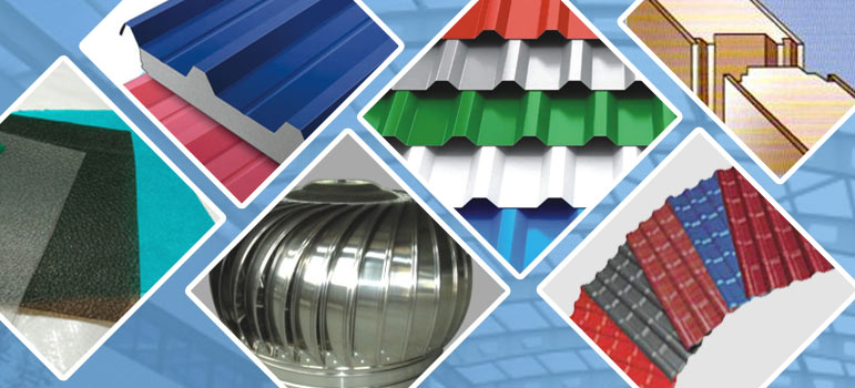 Collage of Metecno Sandwich, Hindalco, JSW, Tuflite & Everest Roofing Panel Sheets
