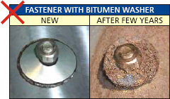 Fasteners with Bitumen washers