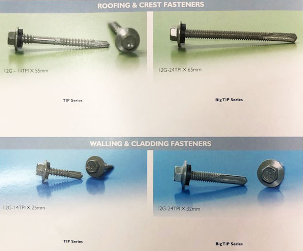 Roofing and Crest Fasteners or Walling and Cladding Fasteners